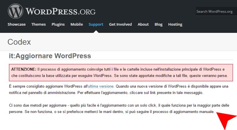 aggiornamento wordpress 4.5