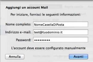 configurazione mail per mac