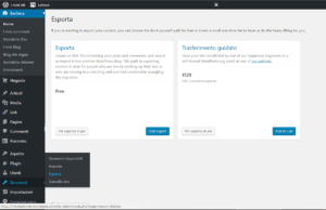 Vedi dove si trova lo strumento per esportare/importare da WordPress