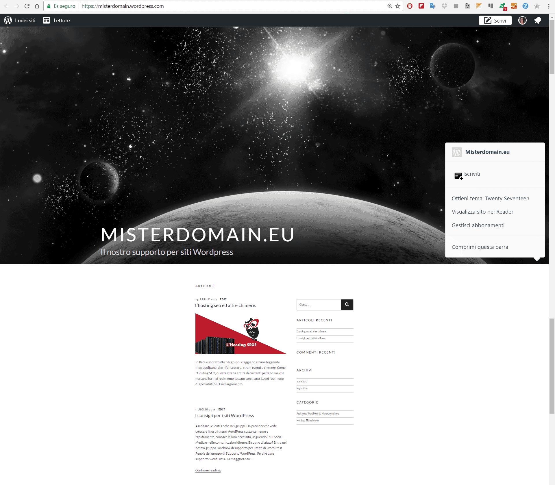 sito creato su wordpress.com da spostare sull'hosting di Misterdomain.eu